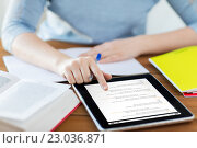 Купить «close up of student with coding on tablet pc», фото № 23036871, снято 17 марта 2016 г. (c) Syda Productions / Фотобанк Лори