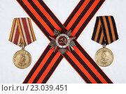 Медаль За победу над Германией и за победу над Японией, орден великой отечественной войны. Стоковое фото, фотограф Евгений Талашов / Фотобанк Лори