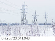 ЛЭП зимой. Стоковое фото, фотограф Александр Замоткин / Фотобанк Лори