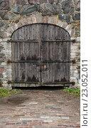 Купить «Старая деревянная дверь», фото № 23052011, снято 16 ноября 2015 г. (c) Darkbird77 / Фотобанк Лори