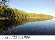Купить «Водная гладь и лесной берег озера Егерское на Валдае», фото № 23052099, снято 8 мая 2016 г. (c) Рябков Александр / Фотобанк Лори