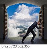 Купить «Businessman has found exit, concept», фото № 23052355, снято 11 мая 2016 г. (c) Владимир Мельников / Фотобанк Лори