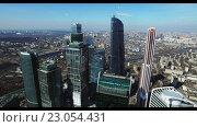 Купить «Небоскребы Москва-Сити с высоты», видеоролик № 23054431, снято 6 июня 2016 г. (c) Попов Евгений / Фотобанк Лори