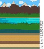 Природные слои земли. Стоковая иллюстрация, иллюстратор David Murk / Фотобанк Лори