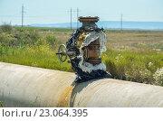 Кран на магистральном газопроводе. Стоковое фото, фотограф Михаил Бессмертный / Фотобанк Лори