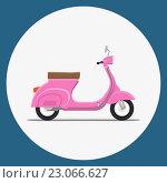 Розовый скутер в круге. Стоковая иллюстрация, иллюстратор Алексей Плескач / Фотобанк Лори