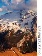 Marmolada from Cresta del Larice, Dolomites, Moena, Fassa Valley, Trentino, Italy. Стоковое фото, фотограф Clickalps SRLs / age Fotostock / Фотобанк Лори