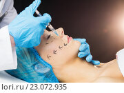 Купить «Woman receiving botox injection on her lips», фото № 23072935, снято 3 февраля 2016 г. (c) Wavebreak Media / Фотобанк Лори
