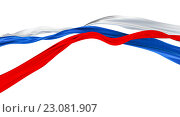 Купить «3D иллюстрация, летящие ленты цвета Российского флага», иллюстрация № 23081907 (c) megastocker / Фотобанк Лори