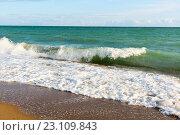 Купить «Набегающая волна. Песчаный берег. Крым», эксклюзивное фото № 23109843, снято 26 мая 2016 г. (c) Александр Щепин / Фотобанк Лори