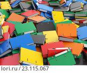Купить «File binders or folders with documents. Paperwork office colourful background.», фото № 23115067, снято 28 февраля 2020 г. (c) Maksym Yemelyanov / Фотобанк Лори