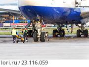 Купить «Аэропорт Домодедово, подготовка к буксировке самолетов», фото № 23116059, снято 26 сентября 2014 г. (c) Андрей Радченко / Фотобанк Лори