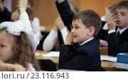 Ученик тянет руку на уроке для ответа, школьный класс (2016 год). Редакционное видео, видеограф Кекяляйнен Андрей / Фотобанк Лори