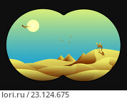 Всадник на верблюде, пирамиды. Стоковая иллюстрация, иллюстратор Костенко Юлия / Фотобанк Лори