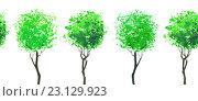 Купить «Бордюр из повторяющихся зеленых деревьев. Иллюстрация акварелью. Бесшовный фон.», иллюстрация № 23129923 (c) Марина / Фотобанк Лори