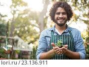 Купить «Happy male gardener holding sapling», фото № 23136911, снято 11 мая 2016 г. (c) Wavebreak Media / Фотобанк Лори