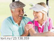 Купить «Cheerful golfer couple», фото № 23138359, снято 14 апреля 2016 г. (c) Wavebreak Media / Фотобанк Лори