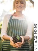 Купить «Happy female gardener holding sapling», фото № 23140563, снято 11 мая 2016 г. (c) Wavebreak Media / Фотобанк Лори