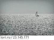 Купить «Одинокий парусник у горизонта в открытом море в солнечный день», фото № 23145171, снято 26 июля 2007 г. (c) Илья Малов / Фотобанк Лори