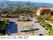 Купить «Панорама Сан Марино и Апеннинские горы. Вид на гору Монте-Титано», фото № 23146327, снято 6 ноября 2013 г. (c) Евгений Ткачёв / Фотобанк Лори