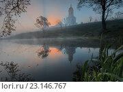 Купить «Русский православный монастырь в городе Серпухов на рассвете», фото № 23146767, снято 7 мая 2016 г. (c) Liseykina / Фотобанк Лори
