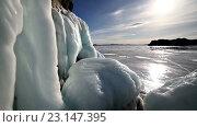 Купить «Закат на льду озера Байкал», видеоролик № 23147395, снято 19 июня 2016 г. (c) Станислав Толстнев / Фотобанк Лори