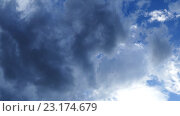 Купить «Плотные облака в небе, таймлапс», видеоролик № 23174679, снято 20 мая 2016 г. (c) Михаил Коханчиков / Фотобанк Лори