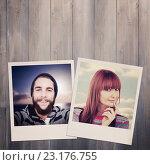 Купить «Composite image of portrait of a smiling hipster woman», фото № 23176755, снято 21 августа 2018 г. (c) Wavebreak Media / Фотобанк Лори