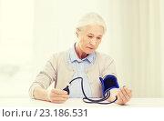 Купить «old woman with tonometer checking blood pressure», фото № 23186531, снято 10 июля 2015 г. (c) Syda Productions / Фотобанк Лори