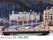 Купить «Ski resort in the Valley Rosa Khutor. Sochi, Russia», фото № 23188495, снято 10 февраля 2016 г. (c) Сергей Лаврентьев / Фотобанк Лори