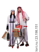 Купить «Happy arabic family after shopping isolated on white», фото № 23198151, снято 27 мая 2016 г. (c) Elnur / Фотобанк Лори