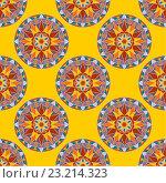 Купить «Векторный бесшовные цветочный фон с орнаментом Мандала», иллюстрация № 23214323 (c) Бражников Андрей / Фотобанк Лори