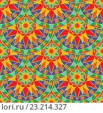 Купить «Векторный бесшовные цветочный фон с орнаментом Мандала», иллюстрация № 23214327 (c) Бражников Андрей / Фотобанк Лори