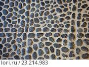 Купить «Black pebble stone cemented floor, background», фото № 23214983, снято 21 февраля 2016 г. (c) Татьяна Белова / Фотобанк Лори