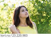 Купить «14 year old girl looking up outdoors on sunny day», фото № 23220983, снято 2 июля 2016 г. (c) Володина Ольга / Фотобанк Лори