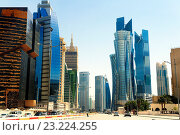 Купить «Central Doha, Qatar. Iconic high rise on Majlis Al Taawon St. include Golden Bay Tower, Palm Twin Tower and Islamic Bank Tower.», фото № 23224255, снято 17 апреля 2016 г. (c) age Fotostock / Фотобанк Лори