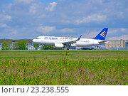 Купить «Самолёт Airbus A320 авиакомпании Air Astana», фото № 23238555, снято 11 мая 2016 г. (c) Зезелина Марина / Фотобанк Лори