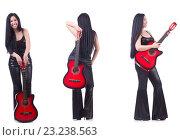 Купить «Woman playing guitar isolated on white», фото № 23238563, снято 19 февраля 2019 г. (c) Elnur / Фотобанк Лори