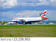 Купить «Самолет Airbus A320 компании British Airways на взлетно-посадочной полосе аэропорта Пулково», фото № 23238903, снято 11 мая 2016 г. (c) Зезелина Марина / Фотобанк Лори