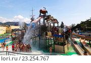 Attractions at Illa Fantasia Barcelona's Water Park (2014 год). Редакционное фото, фотограф Яков Филимонов / Фотобанк Лори