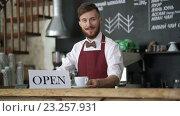 Купить «Smiling waiter at the counter», видеоролик № 23257931, снято 13 июля 2016 г. (c) Raev Denis / Фотобанк Лори