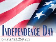 Купить «close up of american flag on independence day», фото № 23259235, снято 6 мая 2016 г. (c) Syda Productions / Фотобанк Лори