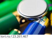 Купить «close up of alkaline batteries», фото № 23261467, снято 3 июня 2016 г. (c) Syda Productions / Фотобанк Лори