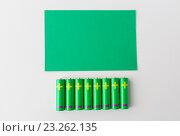 Купить «close up of green alkaline batteries», фото № 23262135, снято 3 июня 2016 г. (c) Syda Productions / Фотобанк Лори