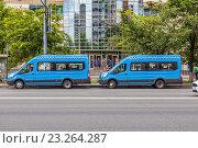 Купить «Новое оформление московских маршруток», фото № 23264287, снято 13 июля 2016 г. (c) Владимир Сергеев / Фотобанк Лори