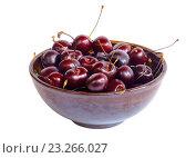 Купить «Керамическая миска со спелой вишней», фото № 23266027, снято 17 июня 2016 г. (c) Elena Molodavkina / Фотобанк Лори