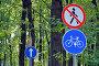 """Дорожные знаки 3.10 """"Движение пешеходов запрещено"""" и  4.4.1 """"Велосипедная дорожка"""" в городском парке, фото № 23267739, снято 16 июля 2016 г. (c) Александр Замараев / Фотобанк Лори"""