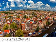 Купить «Вид на город Амстердам, Голландия, Нидерланды», фото № 23268843, снято 5 августа 2014 г. (c) Коваленкова Ольга / Фотобанк Лори