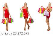 Купить «Woman with shopping bags isolated on white», фото № 23272575, снято 4 октября 2014 г. (c) Elnur / Фотобанк Лори
