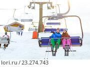Купить «Young skiers», фото № 23274743, снято 11 марта 2016 г. (c) Raev Denis / Фотобанк Лори